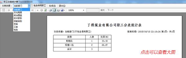职工分类统计表界面